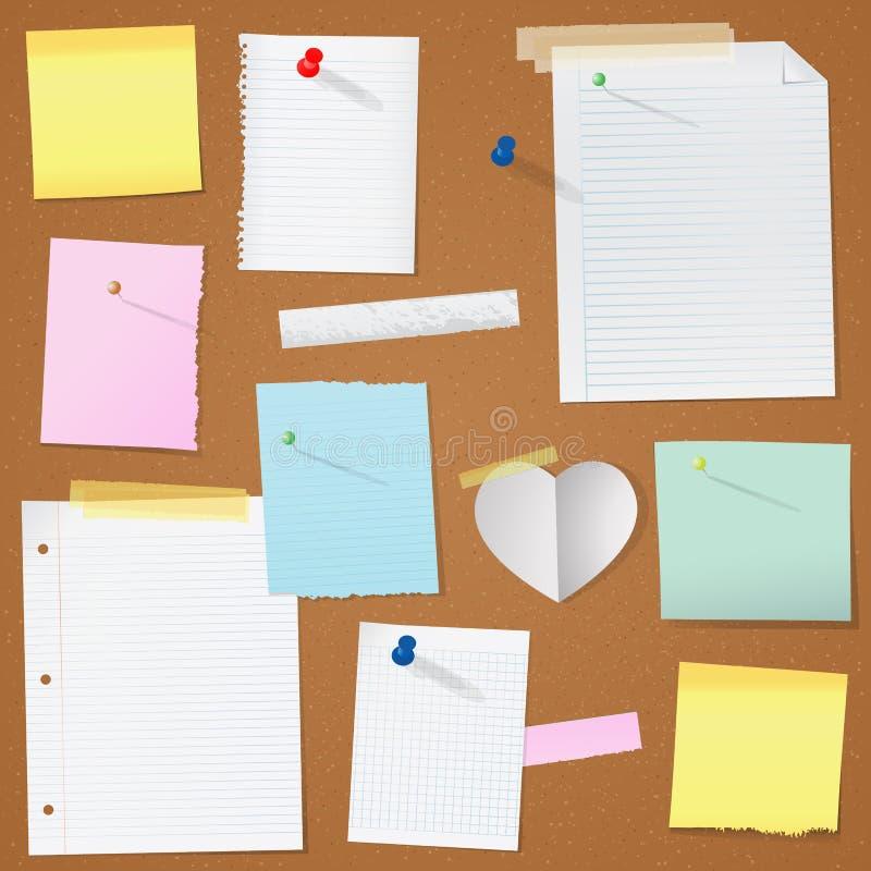 Illustration paper notes on cork board royalty free illustration