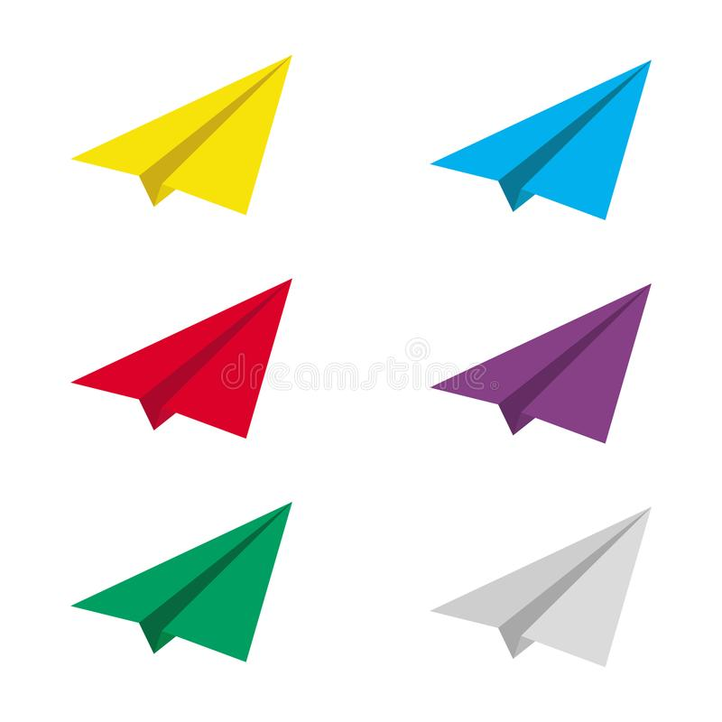 Paper plane icon minimalist symbol set on white background. vector illustration