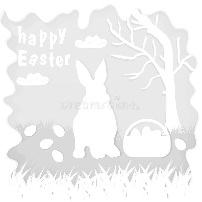 Illustration in paper_8_style on the theme of Easter celebration little rabbit sitting on the lawn next to a basket of eggs near. Vector illustration in paper stock illustration