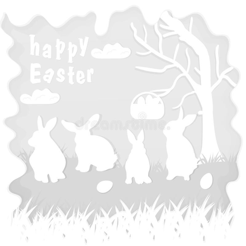 Illustration in paper_10_style on the theme of Easter celebration little rabbit sitting on the lawn next to a basket of eggs near. Vector illustration in paper royalty free illustration