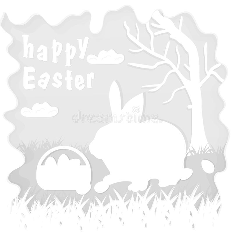 Illustration in paper_6_style on the theme of Easter celebration little rabbit sitting on the lawn next to a basket of eggs near. Vector illustration in paper vector illustration