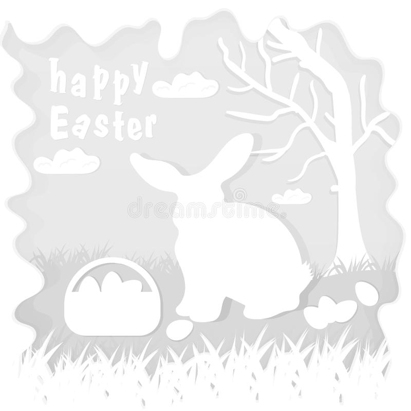Illustration in paper_9_style on the theme of Easter celebration little rabbit sitting on the lawn next to a basket of eggs near. Vector illustration in paper stock illustration