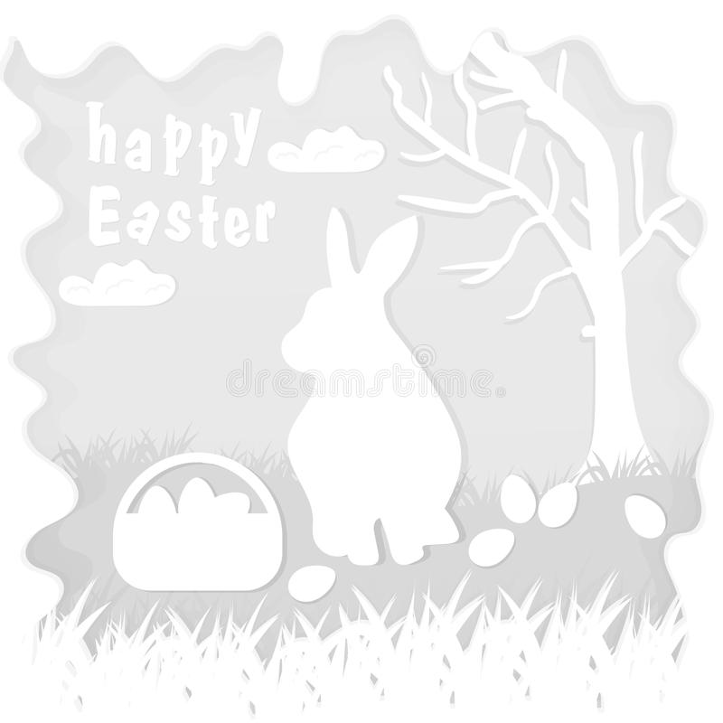 Illustration in paper_7_style on the theme of Easter celebration little rabbit sitting on the lawn next to a basket of eggs near. Vector illustration in paper vector illustration