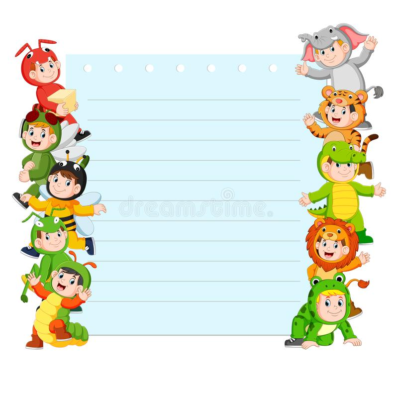Paper template with many kids wearing animal costume. Illustration of Paper template with many kids wearing animal costume vector illustration