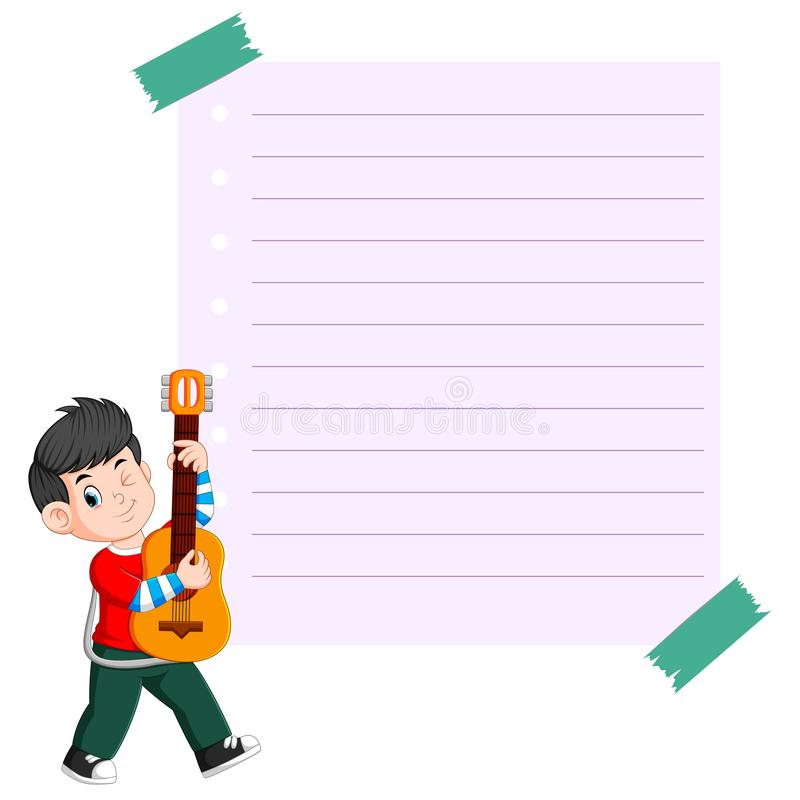 paper template with young man playing guitar vector illustration