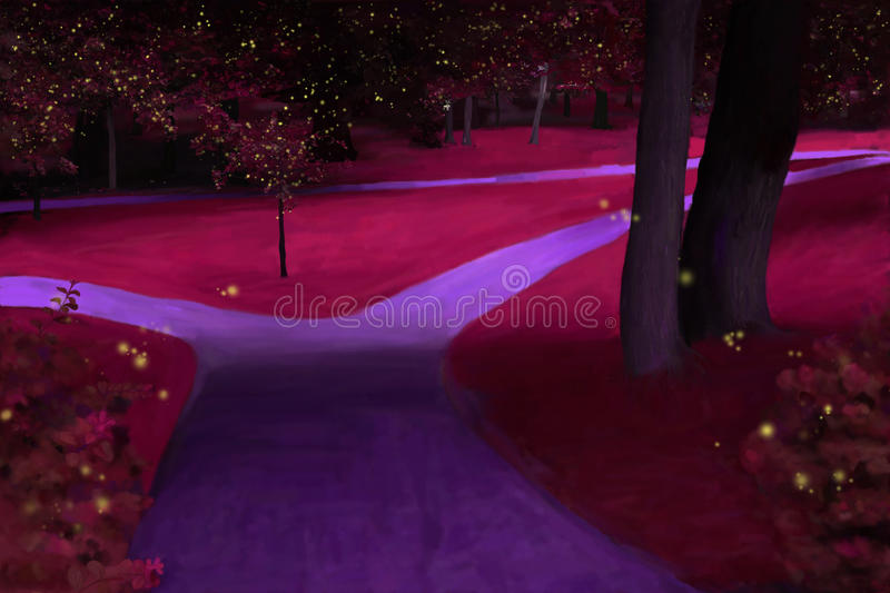 Park by night royalty free illustration