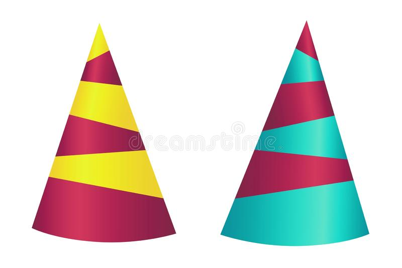 Illustration party striped hat isolated on white background. Set, design, collection, cap, cone, colors, shape, creative, cartoon, object, miscellaneous, new royalty free stock photo