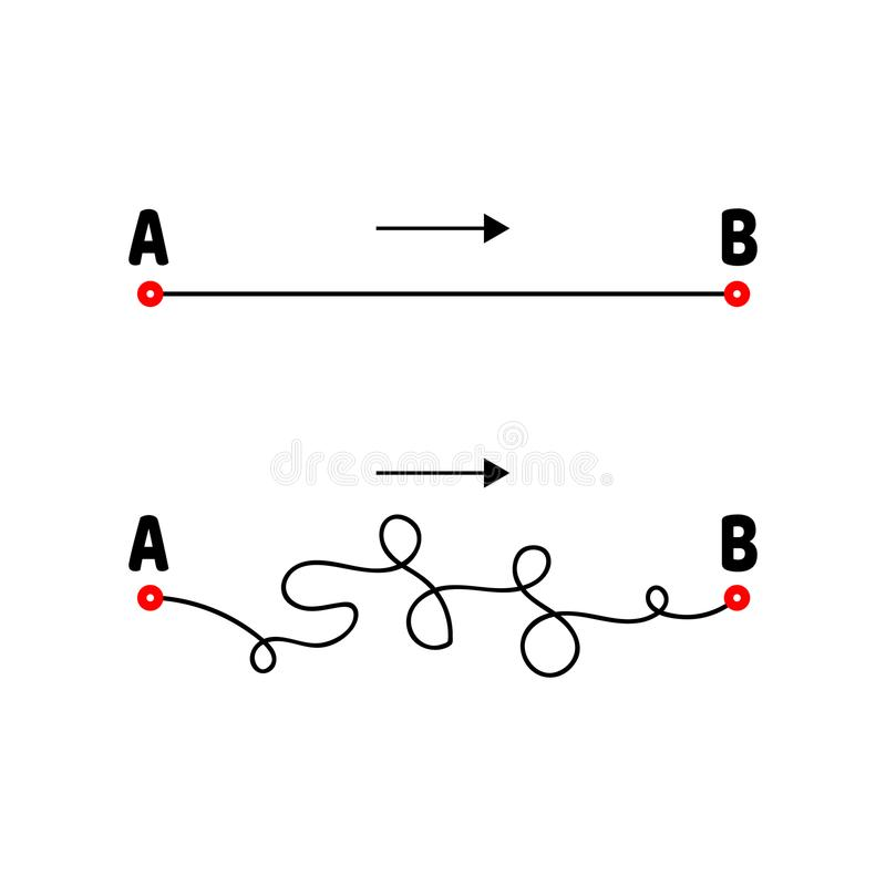 Illustration. The path from A to B. Straight and tangled lines. Arrow. Vector illustration. The path from A to B. Straight and tangled lines. Arrow vector illustration
