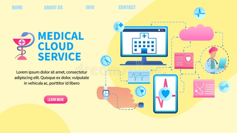 Illustration Patient Health Data Transfer System. Banner Vector Medical Cloud Service. Clinic Receives Patient Health Data Computer. Doctor Online Monitors royalty free illustration