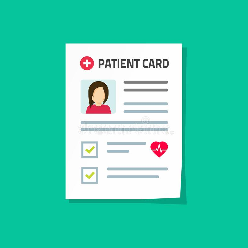 Illustration patiente de vecteur de carte, document médical de papier d'enregistrement de bande dessinée plate avec l'information illustration de vecteur