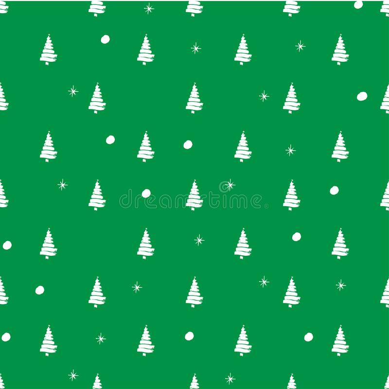 Illustration pattern on the winter theme with green background and white silhouette of trees with snowballs and snowflakes vector illustration