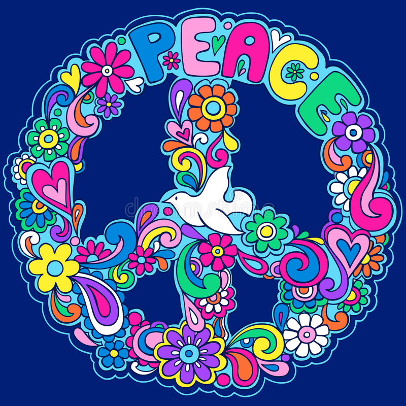 illustration peace psychedelic sign vector