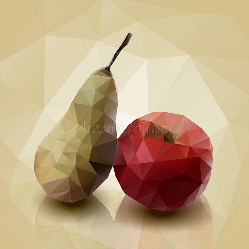 Illustration of pear and apple. royalty free stock photos