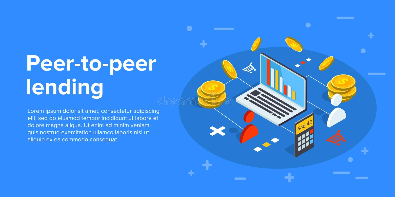 Illustration peer-to-peer d'affaires de vecteur de prêt dans d isométrique illustration libre de droits