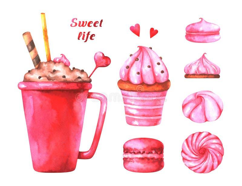 Illustration peinte à la main avec des macarons d'aquarelle, des guimauves, la tasse avec du café, le gâteau, des coeurs rouges e illustration stock