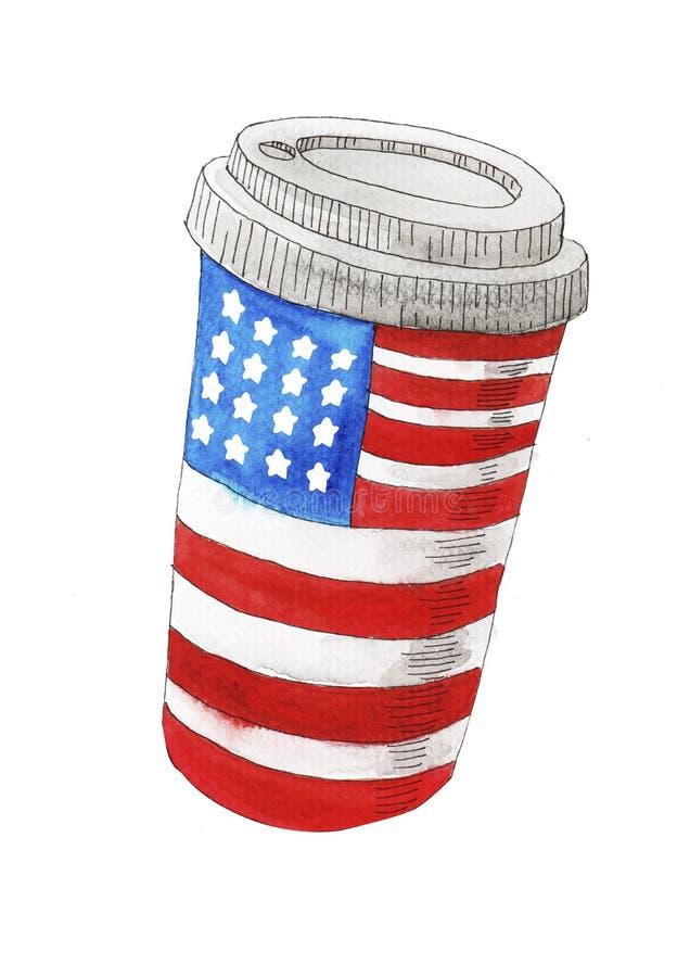 Illustration peinte à la main d'aquarelle de Jour de la Déclaration d'Indépendance du 4 juillet illustration libre de droits