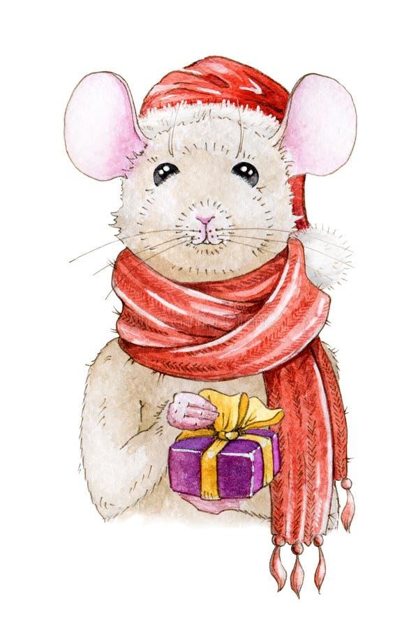 Illustration peinte à la main d'aquarelle de Noël d'une souris gentille dans un chapeau et une écharpe rouges d'hiver Un symbole  illustration stock
