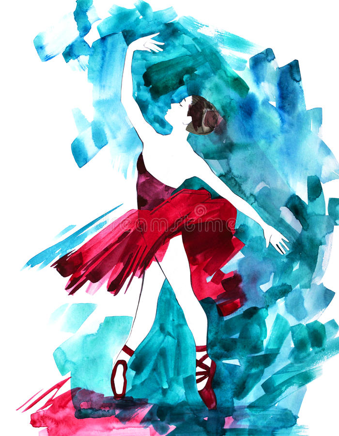 Illustration peinte à la main de danseur classique de ballerine d'aquarelle illustration stock