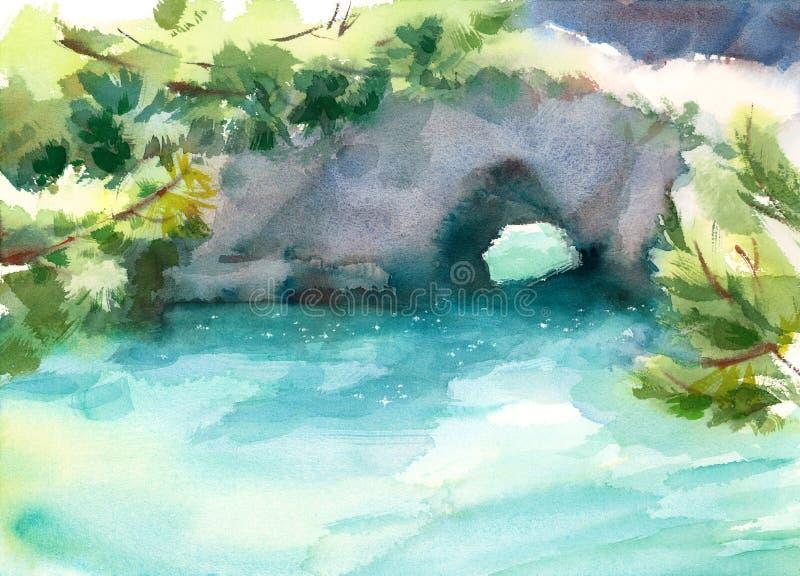 Illustration peinte à la main de Lobos d'océan de paysage marin de côte de la Californie d'aquarelle de point scénique de rivage illustration libre de droits