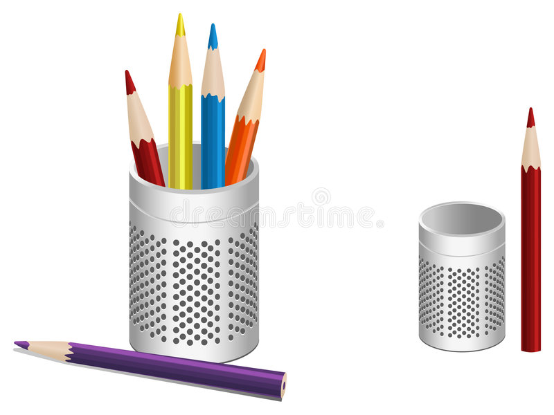 Download Illustration Of Pen Pot And Colored Pencils Stock Vector - Illustration of steel, illustration: 4386884