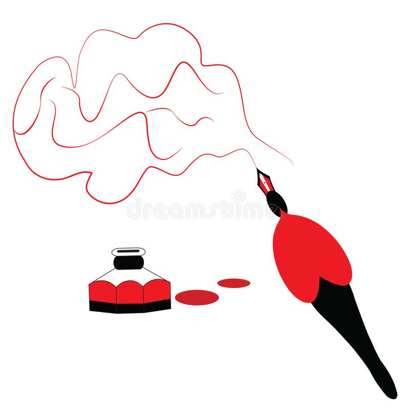 Illustration of a pen sketching the brain. With red ink royalty free illustration