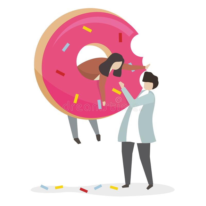 Illustration of people with donut vector illustration