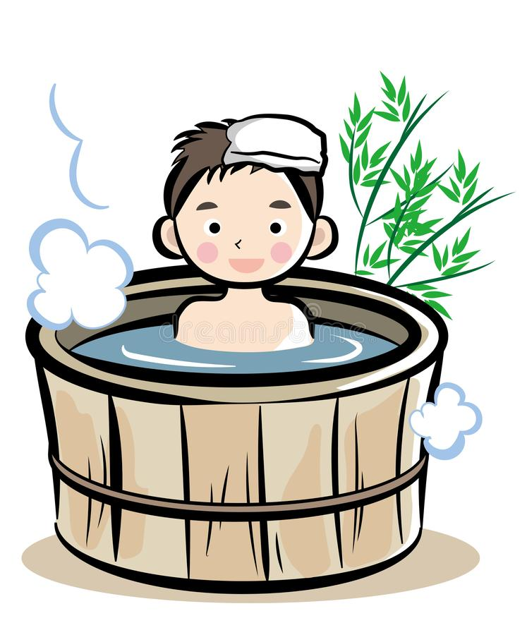 Barrel bath Japanese style. Illustration of people enjoying leisure time. It is made with vector stock illustration