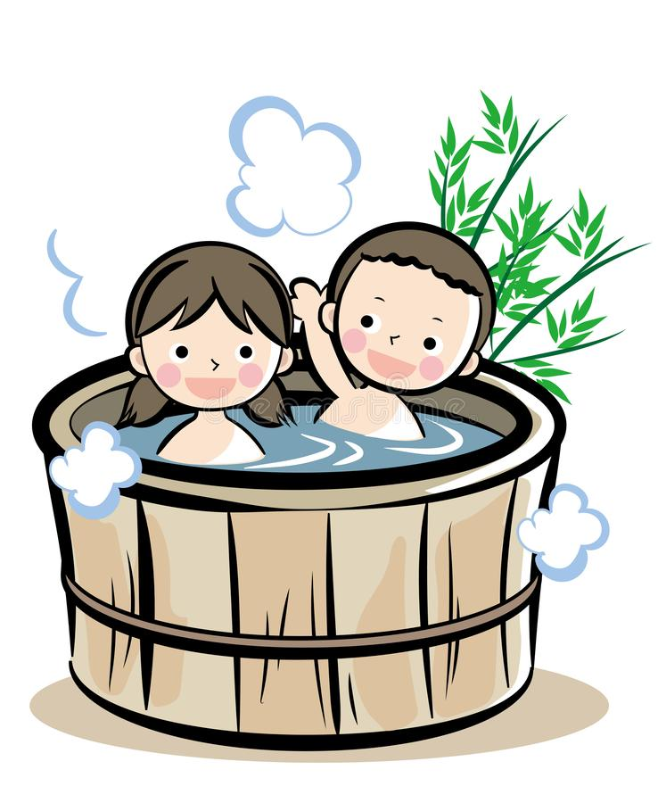 Barrel bath Japanese style. Illustration of people enjoying leisure time. It is made with vector royalty free illustration