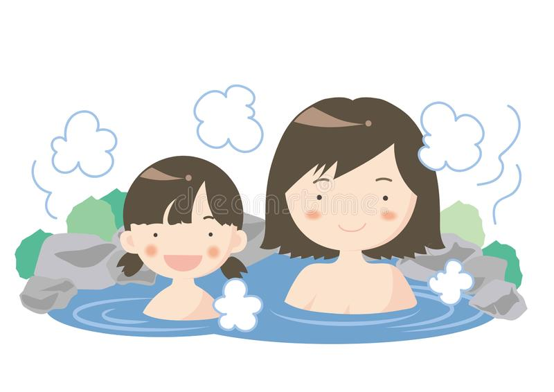 Hot spring image - Parent and child. Illustration of people enjoying leisure time. It is made with vector stock illustration