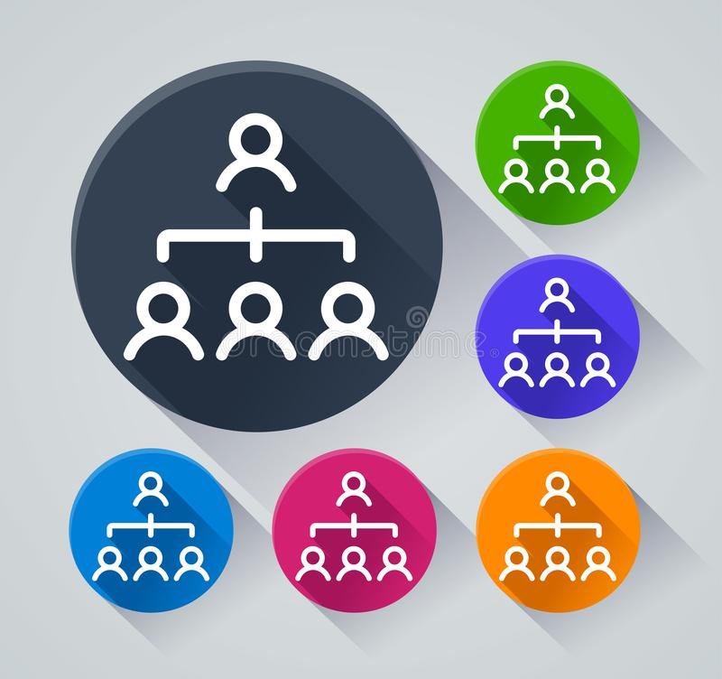 People organization icons with shadow stock illustration