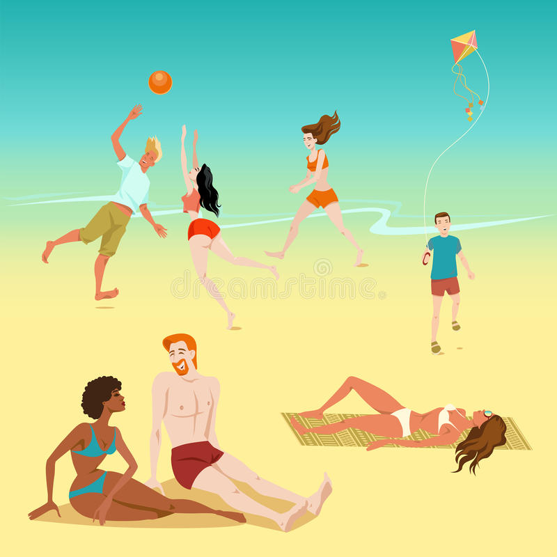 Illustration of people relaxing on the beach. Boy with a kite. Young people playing volleyball. Sunbathing people. Illustration of people relaxing on the beach vector illustration