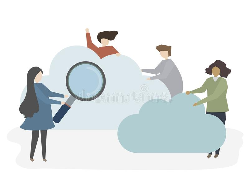 Illustration of people searching and browsing royalty free illustration