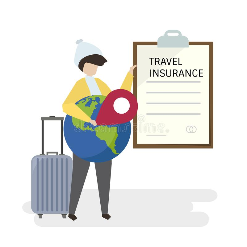 Illustration of people with travel insurance stock illustration