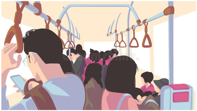 Illustration of people using public transport, bus, train, metro, subway vector illustration