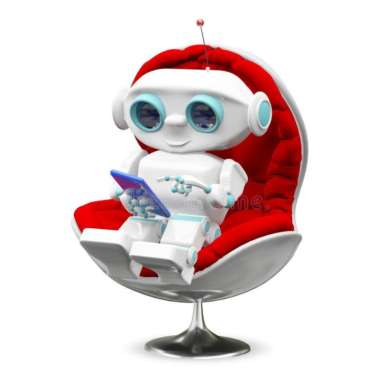 Illustration peu de robot dans le fauteuil illustration stock