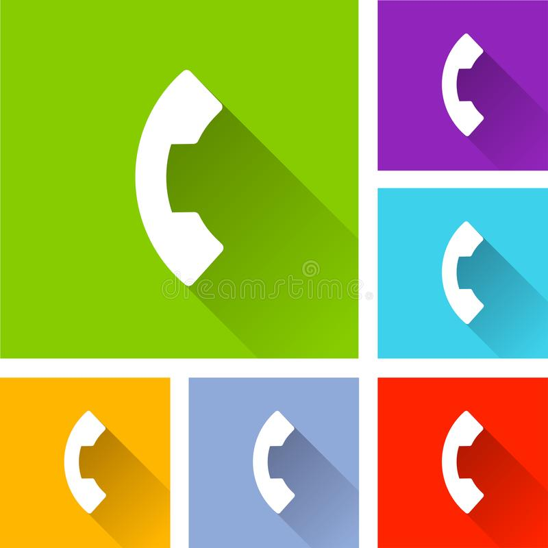 Phone icons with long shadow stock illustration