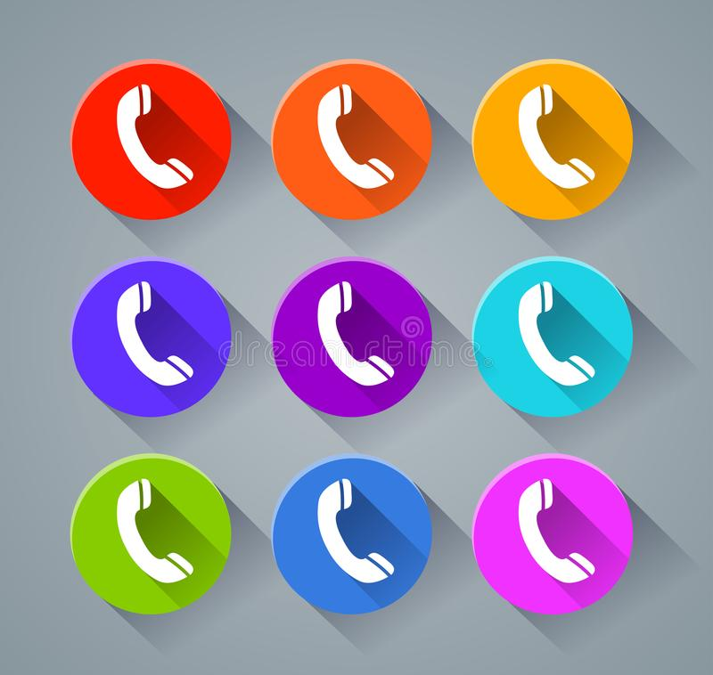 Phone icons with various colors stock illustration