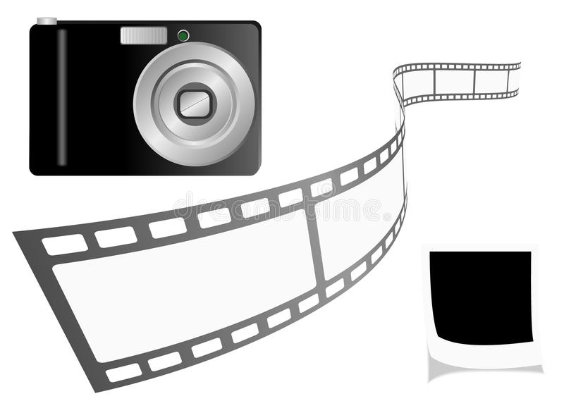 Illustration of a photo camera with film strip and royalty free illustration