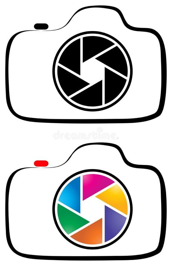 Photography camera line art logo vector illustration