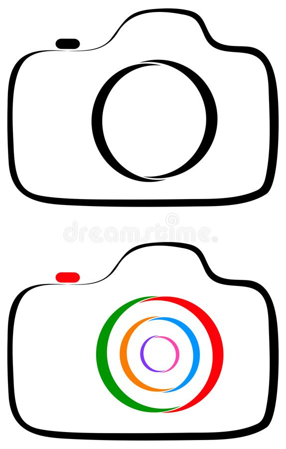 Photography camera line art logo stock illustration