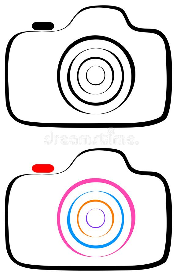 Photography camera line art logo royalty free illustration