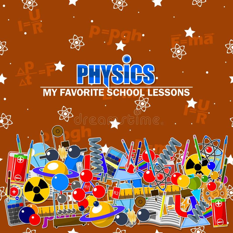 Illustration on the physics school theme. stock photo