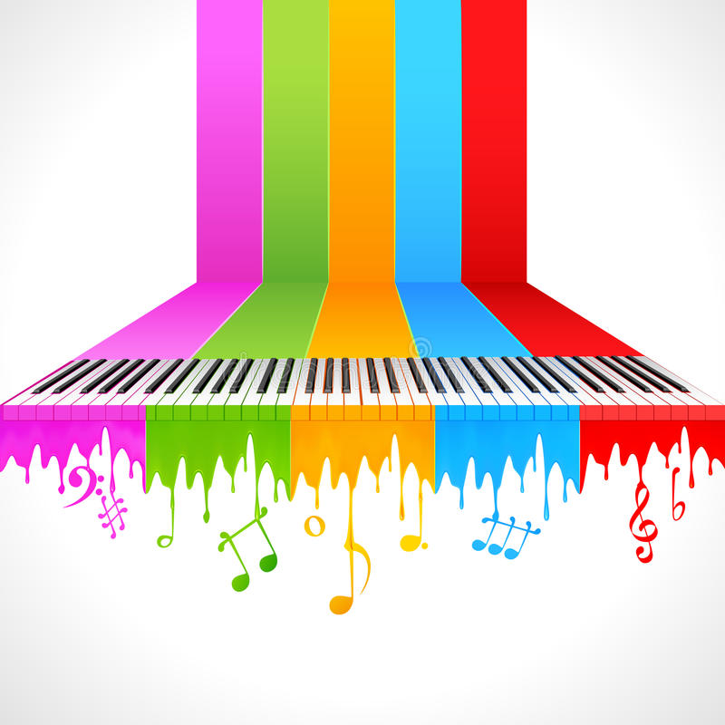 Colorful Piano. Illustration of piano key on rainbow color paint royalty free illustration