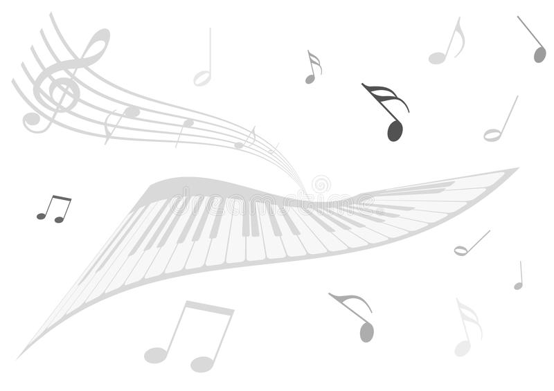 Download Illustration Of A Piano, A Stave And Music Notes Stock Vector - Image: 15121776