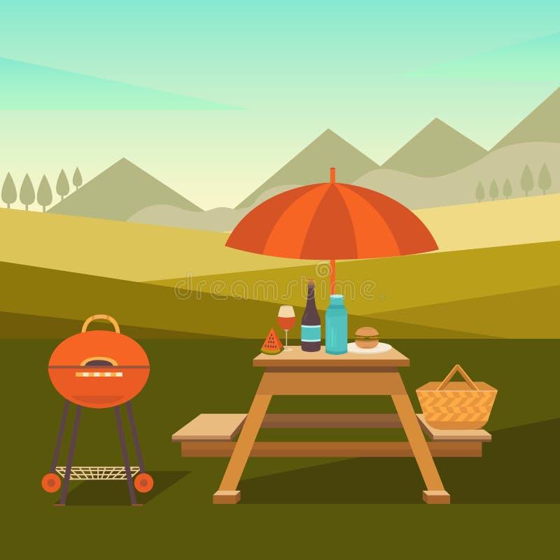 Illustration of picnic in park stock illustration
