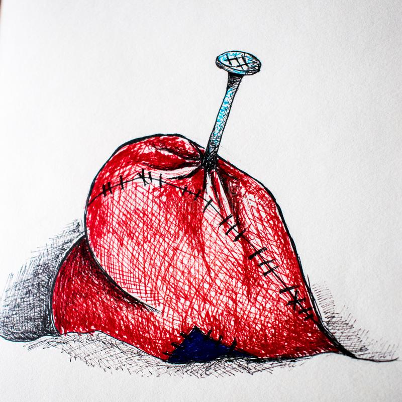 Illustration, picture colored pens nailed the heart with a nail royalty free stock images