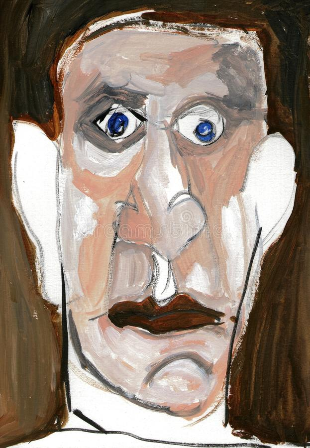Illustration in picture painting of a serious man. Portrait made with acrylic paint from the face of a serious, circumspect man. Creation of the artist Márcio royalty free illustration