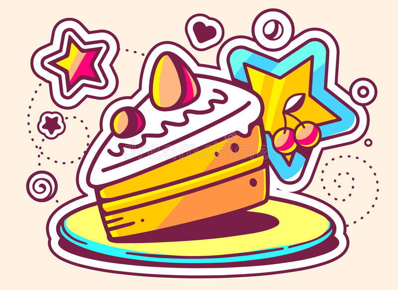 Download Illustration Of Piece Of Cake On A Plate With A Star On L Stock Illustration  sc 1 st  Dreamstime.com & Illustration Of Piece Of Cake On A Plate With A Star On L Stock ...