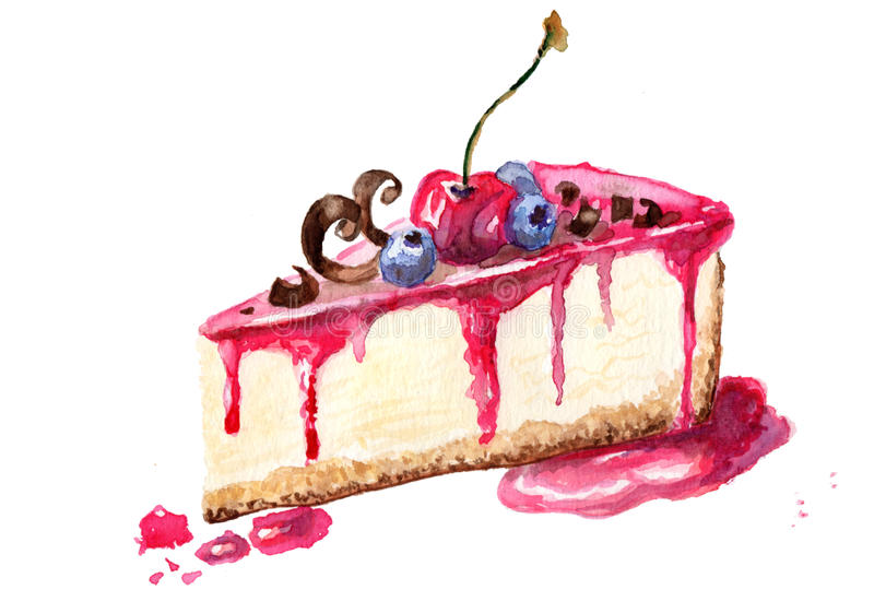 An illustration of a piece of cheesecake. Watercolor Illustration of Cheesecake dessert vector illustration