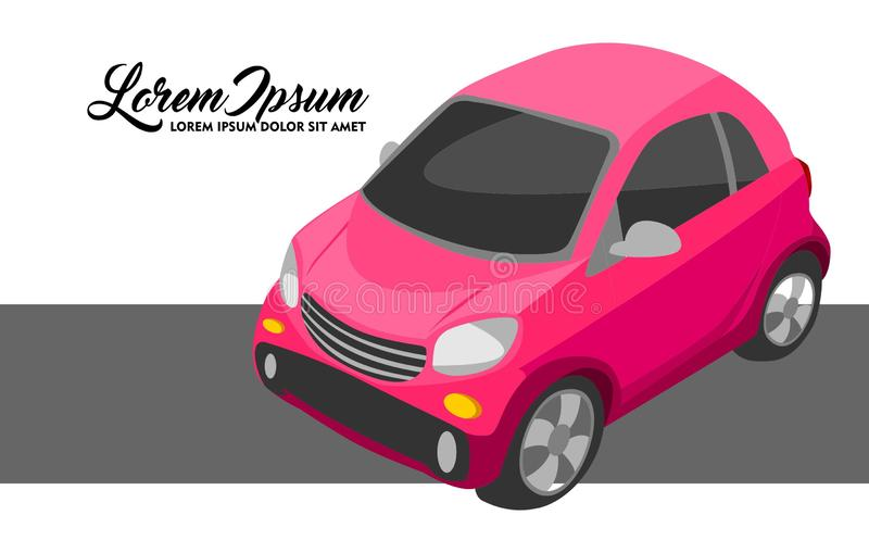Illustration of Pink City Car vector illustration